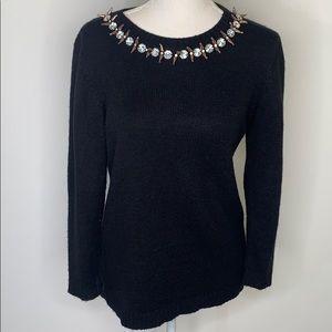IVANKA TRUMP Jeweled Crew Neck Sweater M black
